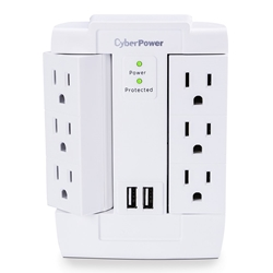 CyberPower Surge Protector 6 Swivel Outlets 2 USB Charging Ports